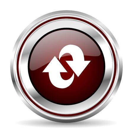 pushbutton: rotation icon chrome border round web button silver metallic pushbutton