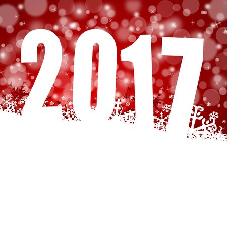 2017 new years illustration with snow Stock Photo