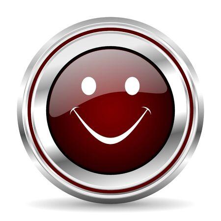 chrome border: smile icon chrome border round web button silver metallic pushbutton Stock Photo