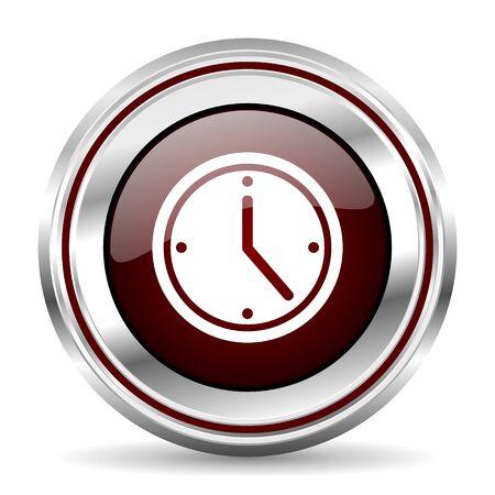 chrome border: time icon chrome border round web button silver metallic pushbutton