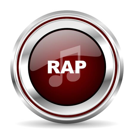 live stream sign: rap music icon chrome border round web button silver metallic pushbutton Stock Photo