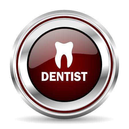 dentist icon chrome border round web button silver metallic pushbutton