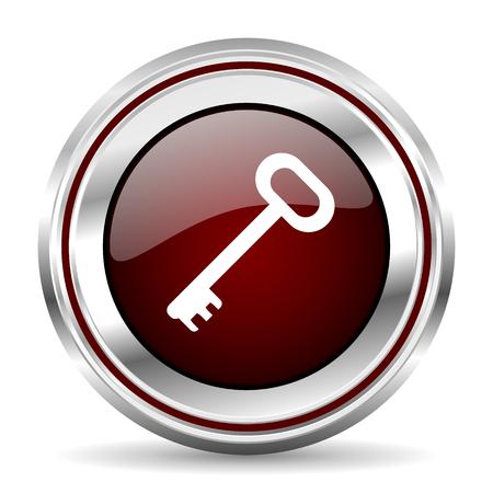 pushbutton: key icon chrome border round web button silver metallic pushbutton