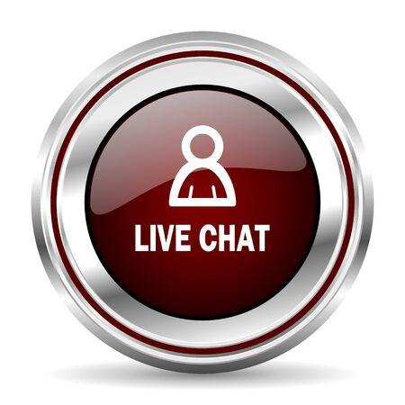 chrome border: live chat icon chrome border round web button silver metallic pushbutton