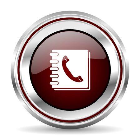 pushbutton: phonebook icon chrome border round web button silver metallic pushbutton