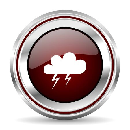 storm icon chrome border round web button silver metallic pushbutton Stock Photo