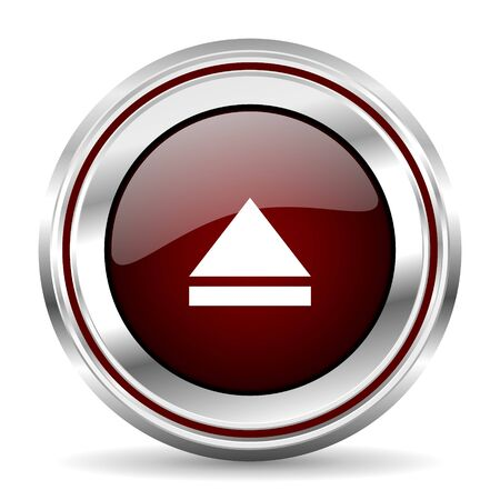 eject icon: eject icon chrome border round web button silver metallic pushbutton Stock Photo