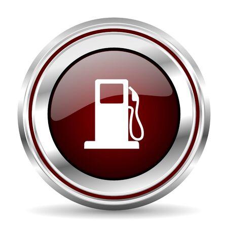 pushbutton: petrol icon chrome border round web button silver metallic pushbutton