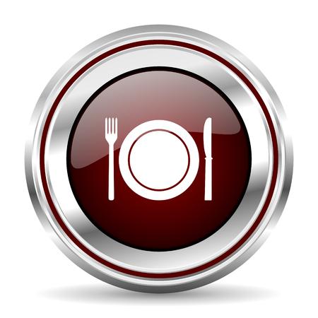 pushbutton: restaurant icon chrome border round web button silver metallic pushbutton Stock Photo