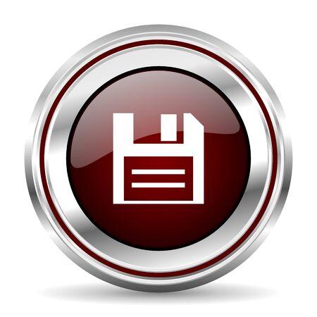 chrome border: disk icon chrome border round web button silver metallic pushbutton