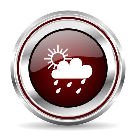 rain icon chrome border round web button silver metallic pushbutton