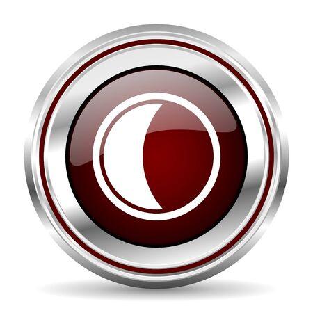 pushbutton: moon icon chrome border round web button silver metallic pushbutton Stock Photo