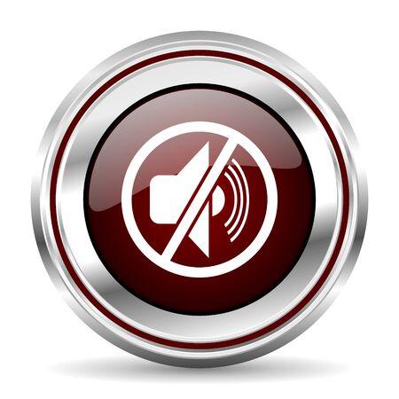 pushbutton: mute icon chrome border round web button silver metallic pushbutton Stock Photo