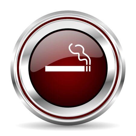 pushbutton: cigarette icon chrome border round web button silver metallic pushbutton