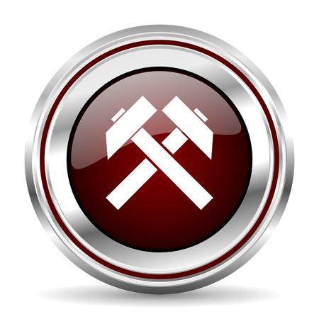 pushbutton: mining icon chrome border round web button silver metallic pushbutton