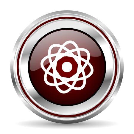pushbutton: atom icon chrome border round web button silver metallic pushbutton