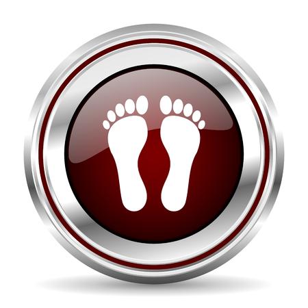 pushbutton: foot icon chrome border round web button silver metallic pushbutton Stock Photo