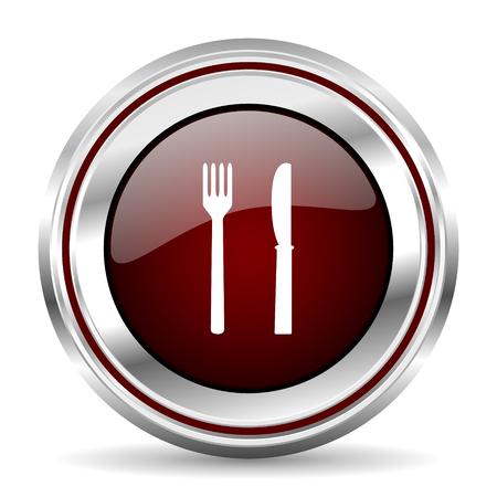 pushbutton: eat icon chrome border round web button silver metallic pushbutton