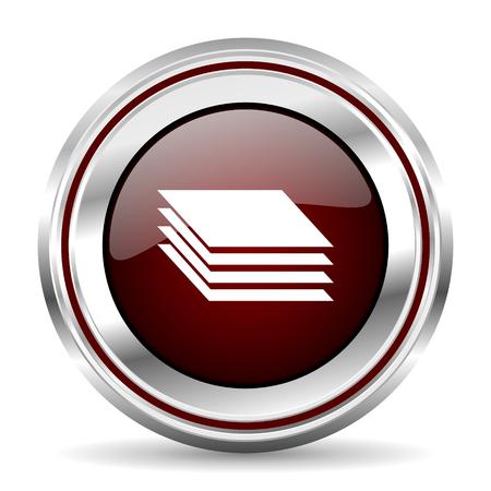chrome border: layers icon chrome border round web button silver metallic pushbutton