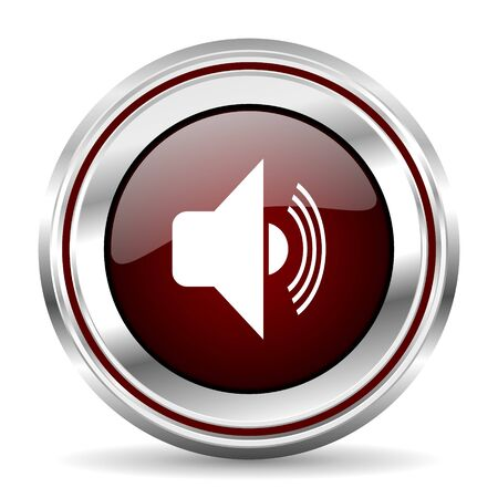 chrome border: volume icon chrome border round web button silver metallic pushbutton Stock Photo
