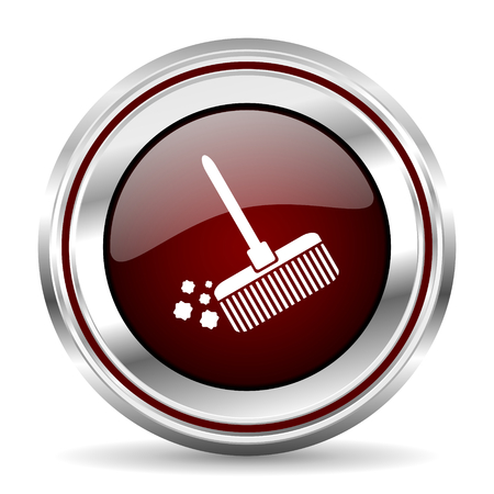 pushbutton: broom icon chrome border round web button silver metallic pushbutton