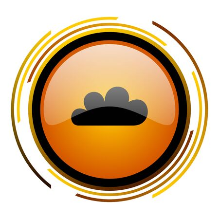 cloud round design orange glossy web icon