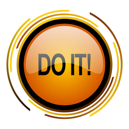 do it round design orange glossy web icon