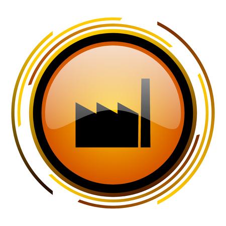 factory round design orange glossy web icon