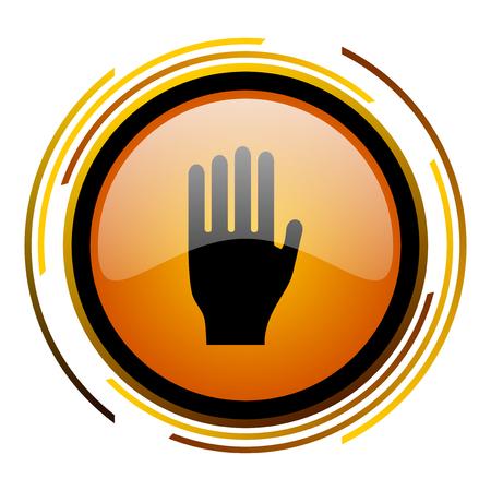 stop round design orange glossy web icon Stock Photo