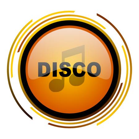 live stream sign: disco music round design orange glossy web icon
