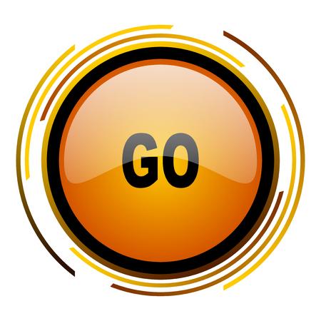 go round design orange glossy web icon