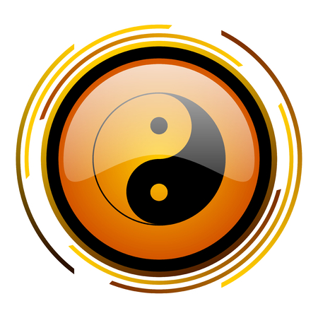 ying yang round design orange glossy web icon