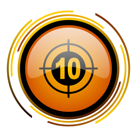 target round design orange glossy web icon
