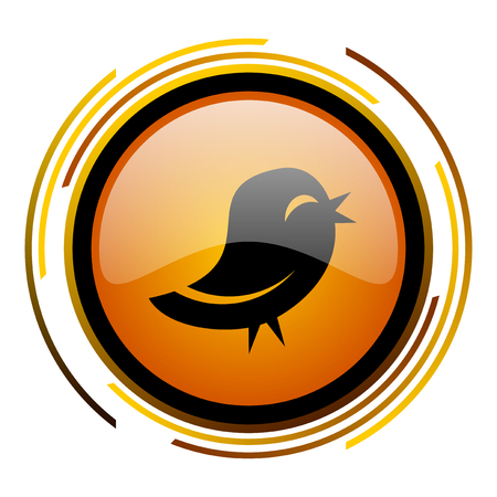 twitter round design orange glossy web icon