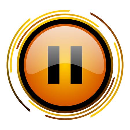 eject icon: pause round design orange glossy web icon Stock Photo