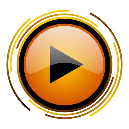 eject icon: play round design orange glossy web icon