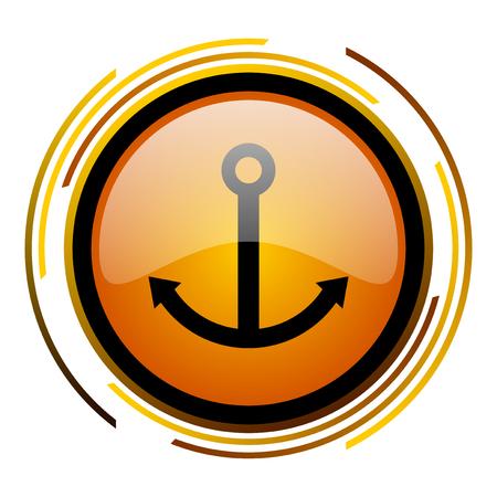 anchor round design orange glossy web icon