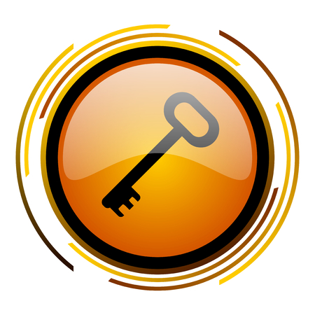 key round design orange glossy web icon