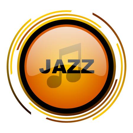 jazz music round design orange glossy web icon