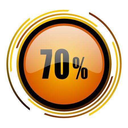 70 percent round design orange glossy web icon Banque d'images