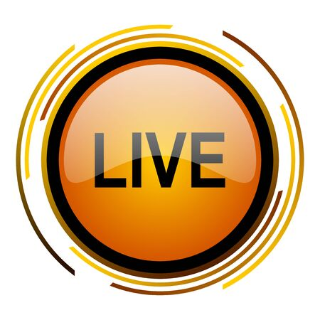 livestream: live round design orange glossy web icon