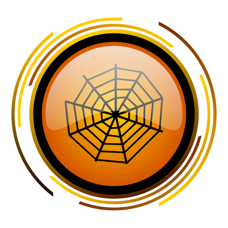 spider web round design orange glossy web icon