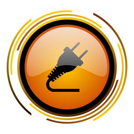 plug round design orange glossy web icon