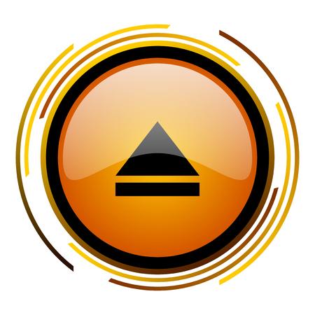 dvd player: eject round design orange glossy web icon Stock Photo