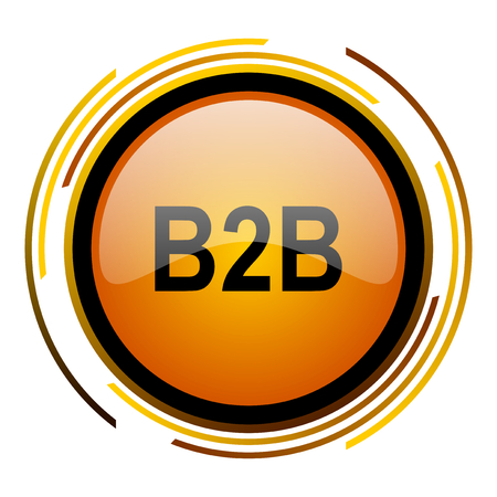 b2b: b2b round design orange glossy web icon Foto de archivo