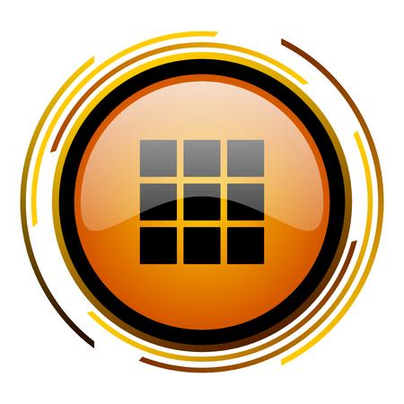 thumbnails: thumbnails grid round design orange glossy web icon