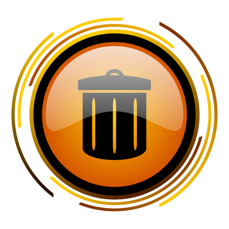 recycle round design orange glossy web icon Stock Photo