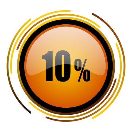 10 percent round design orange glossy web icon