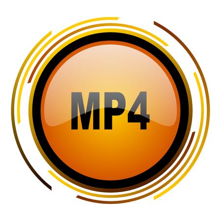 mp4 round design orange glossy web icon
