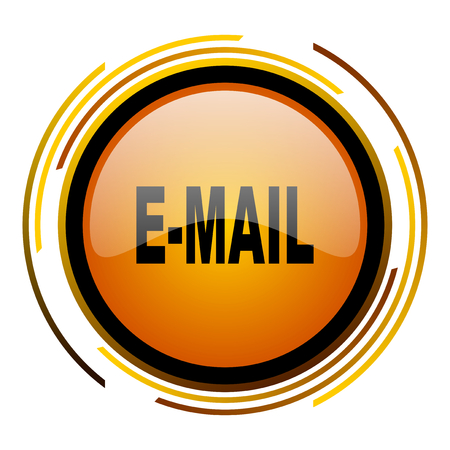email round design orange glossy web icon Stock Photo